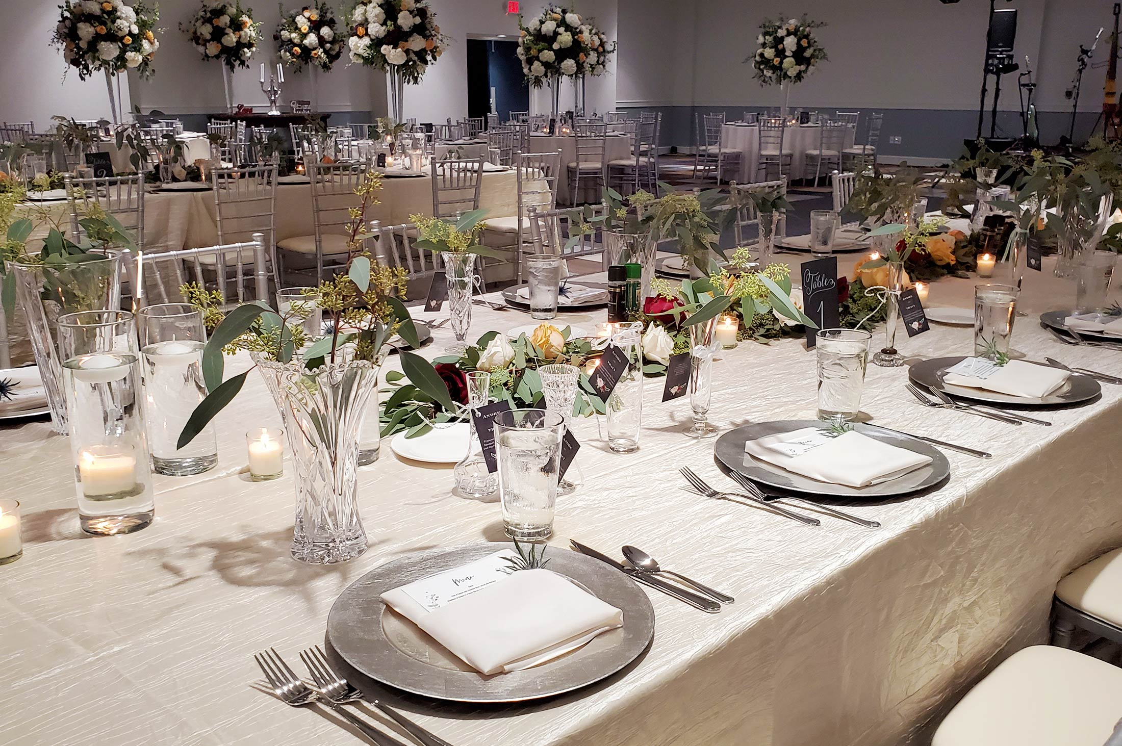 Reception in Monarch Ballroom, place settings